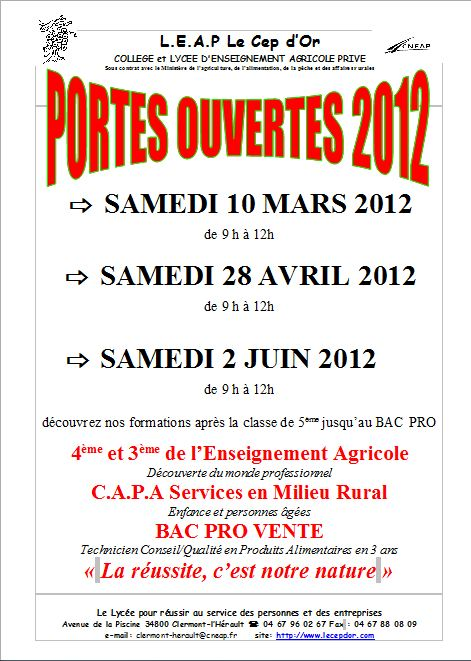 Portes ouvertes ce samedi 10 mars
